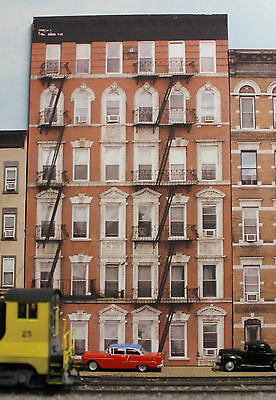 #324 O scale background building flat OLD APARTMENT BUILDING #1  *FREE SHIPPING*