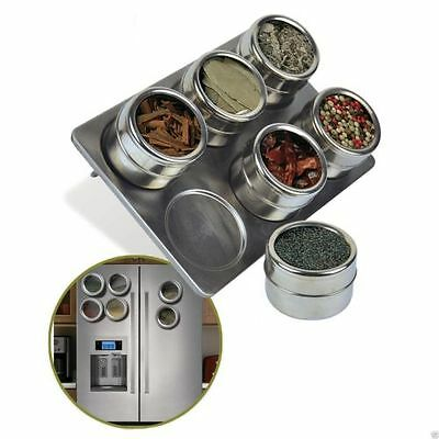 6 Pc Magnetic Stainless Steel Pot Herb Spice Rack Tin Jar Holder Storage Stand