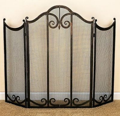 Tuscan Scrolling Iron and Mesh Fire Place Screen