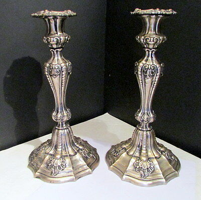 Elaborate Antique German .800 Sterling Silver Rococo Louis Xv Style Candlesticks