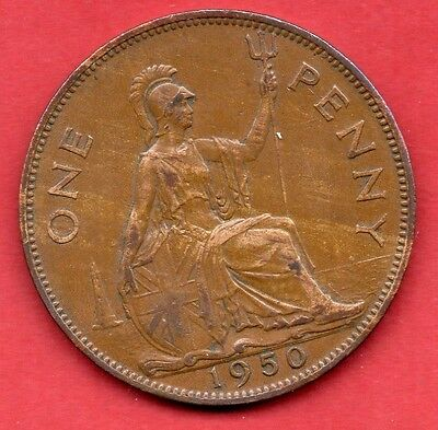 1950 KING GEORGE VI ONE PENNY COIN.  SCARCE DATE 1d.