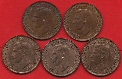 1945 1946 1947 1948 & 1949 King George Vi. 5 X One Penny Coins. High Grade