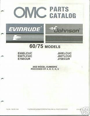 1987 OMC Evinrude Johnson 60 75 HP Outboard Parts Catalog Manual