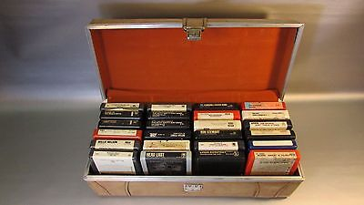 Vintage Lot of 24 8 Track Tapes in Carry Case early Rock Roll beach boys  +