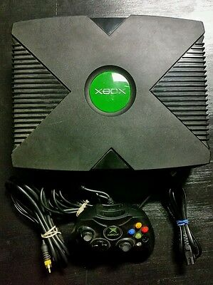 Microsoft Xbox Original Edition Black Console Game System Complete Tested
