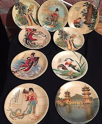 """Vintage Set Of 12 Chinese Bamboo Specialist Plates 6.25"""" Various Colorful Scenes"""