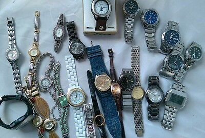 Mens Women Watch lot Casio Fossil Guess Relic Prestige For parts or Repair