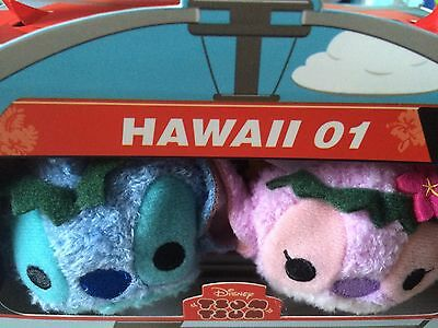 New Disney Tsum Tsum Box Set Of Stitch And Angel Hawaii Themed - In Hand