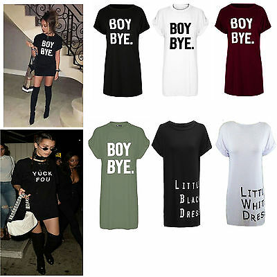 Women Ladies Black BOY BYE Turn Up Short Sleeve Long T-Shirt Top Dress UK 8-16