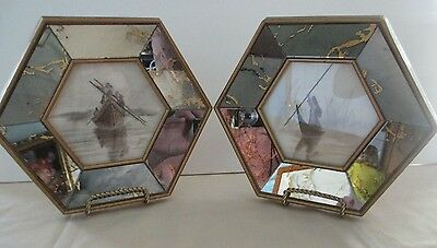 Pair Of River Boat Pictures In Octagon Mirrored Frames