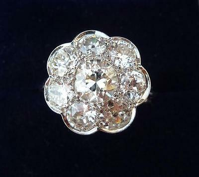 Fabulous platinum art deco 2.25ct Diamond daisy cluster ring