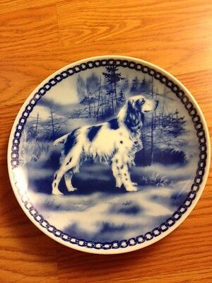 English Springer Spaniel blue porcelain plate
