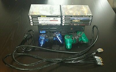 ps2 lot system 10 games 2 controllers component cables power cable