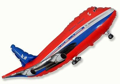 """Aeroplane Shaped Balloon 39"""" Foil Balloon - Red Helium or Air Fill Aviation"""