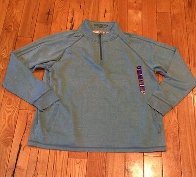 NWT Mens Margaritaville Teal Knit 1/4 Zip Pullover Sweater Size 2XL XXL $78