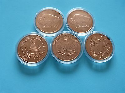 5 x 1oz Copper Bullion Rounds all different in capsules