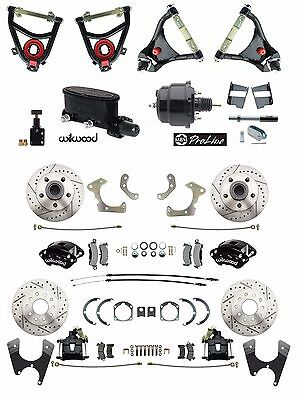 Tri-Five 4 Wheel Black Power Disc Brake & Control Arm Kit w/ Wilwood Components