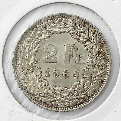 1964B  Switzerland 2 Franc Silver Coin