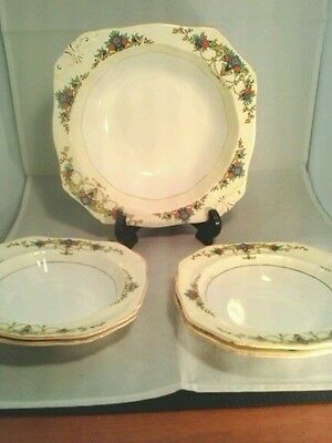 Antique Alred Meakin Usa Patent Serving Dish & 4 Cereal/soup Dishes