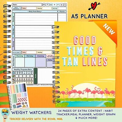 3 Mth Diet Food Diary WEIGHT WATCHERS Compatible Journal Planner Book WW 9-2017