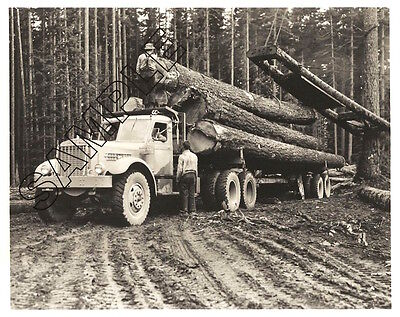 Late 1940s STERLING H Model Loading Logs in Pacific Northwest 8x10 B&W PHOTO
