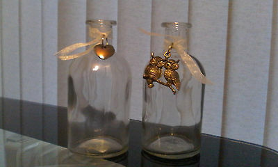 Decorative glass bottles set of two