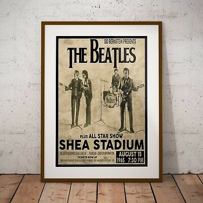 The Beatles 1965 First Shea Stadium Concert Poster Print Three Sizes Exclusive