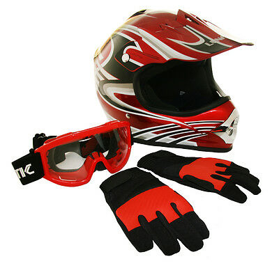 Youth Lunatic ATV/MX Red Helmet Graphic, Goggles & Gloves - DOT Approved