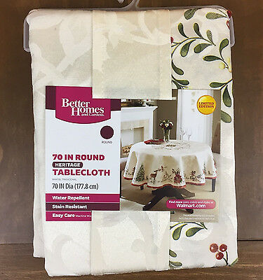 "Better Homes & Gardens Christmas Heritage Tablecloth Deer 70"" Round NEW"