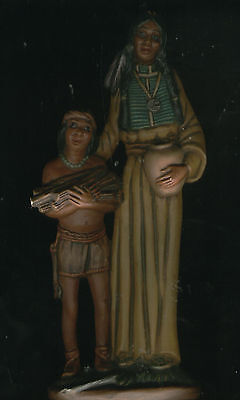 """ANTIQUE Native American (Indian) Tribe Woman & Boy 12"""" Statue marking VERY RARE!"""