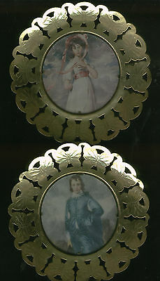 Vintage Solid Brass Decorative Plate Boy / Girl Set!  Made In England Wall Decor
