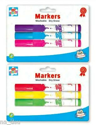 MARKERS White Board 3pk kids dry erase washable Wipe Clean book brigh colours