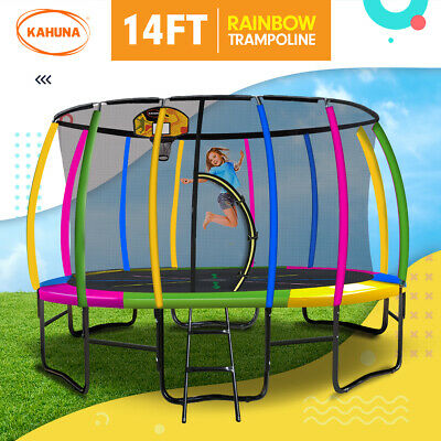 New 14ft Trampoline Free Safety Net Spring Rainbow Pad Cover Mat Ladder Shoe Bag