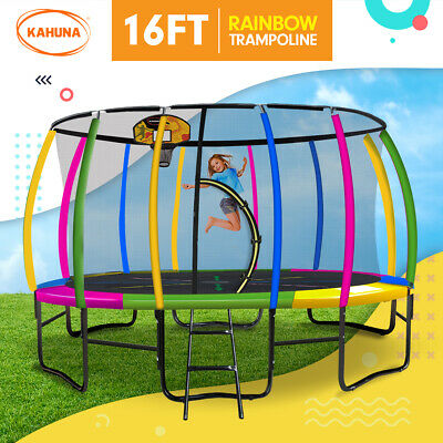 New 16ft Trampoline Free Safety Net Spring Pad Cover Mat Ladder Basketball Set