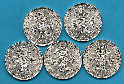 1942 1943 1944 1945 1946 George Vi Silver Florin Coins. Two Shillings. 2/- Coin.