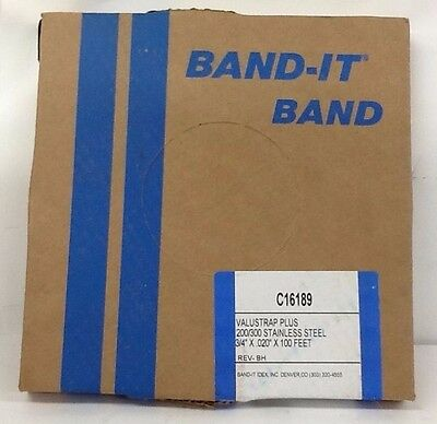 """BAND-IT C16189 Valu-Strap 200/300 Stainless Steel Plus Band, 3/4"""" W X .020""""X100'"""