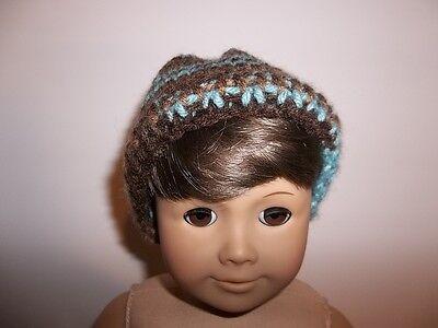 """Turquoise Hand Knit Hat made for 15"""" and 18"""" American Giirl Boy Doll Clothes"""