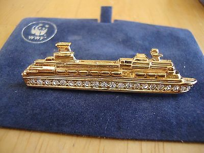 Attwood Collection QE2' Ocean Liner CRUISE SHIP Gold toned Attwood Brooch Pin