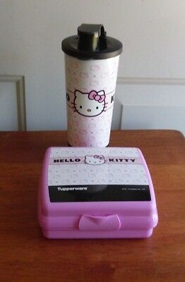 Tupperware Hello Kitty Lunch Set Sandwich Keeper 16 oz Tumbler w/Flip Top NEW
