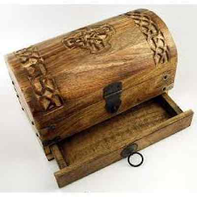 Celtic Cross Wooden Treasure Chest Herb Box Altar Tool Pagan Wicca Occult 10 in