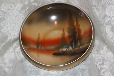 Vintage NORITAKE BOWL Hand Painted House, Water & Tree Scene Stamped LARGE