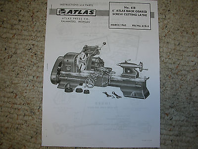 New Atlas Craftsman 618 101.21400 6 Inch Swing Lathe Parts Manual Reprint