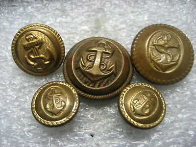 Vintage Uniform Buttons French NAVY lot of 5,1950s