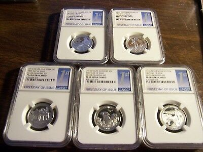 Ngc 2016 S Silver 5 Coin 25C Pf 69 Ultra Cameo-First Day Of Issue- Clean Slabs