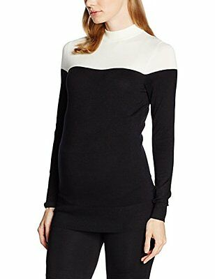 New Look Maternity Colour Block, Pullover Donna, Black (Black Patterned), 46