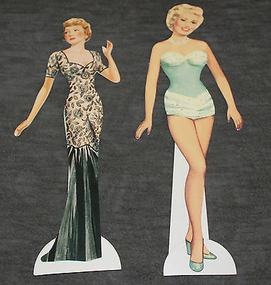 Lot of 2 Shackman Celebrity Paper Dolls Claudette Colbert & Betty Grable