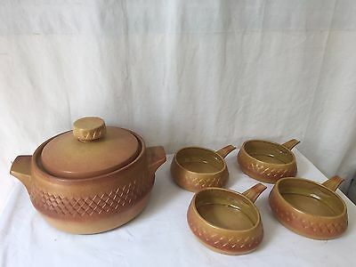 Vintage Stoneware by Diana Pottery 'Nefertiti' Casserole Pot and Ramekins x 4