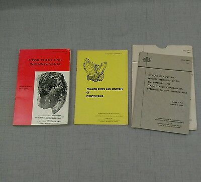 Pennsylvania Geology Mineral Resources Rocks and Fossil Collecting Lot of 3 Book