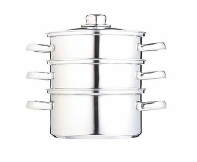 Kitchen Craft 3 Tier Stainless Steel Food Steamer with Glass Lid KCCVSTEAM16