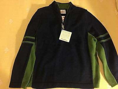 Boys HANNA ANDERSSON Blue Green Zip Neck SWEATER 120 6 7 8 New NWT